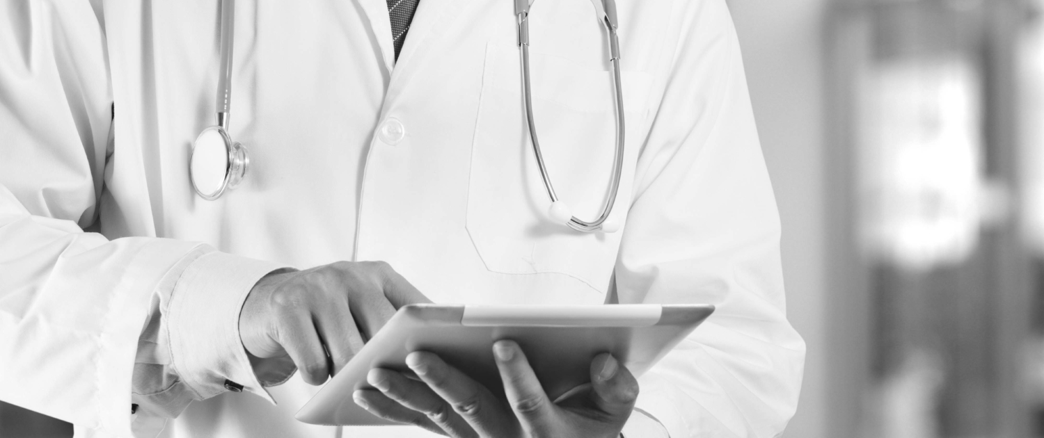 doctor on tablet computer